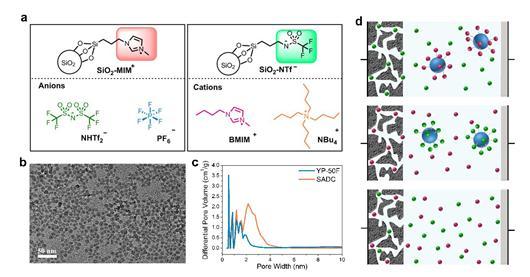 二氧化硅接枝离子以及自由离子结构示意图
